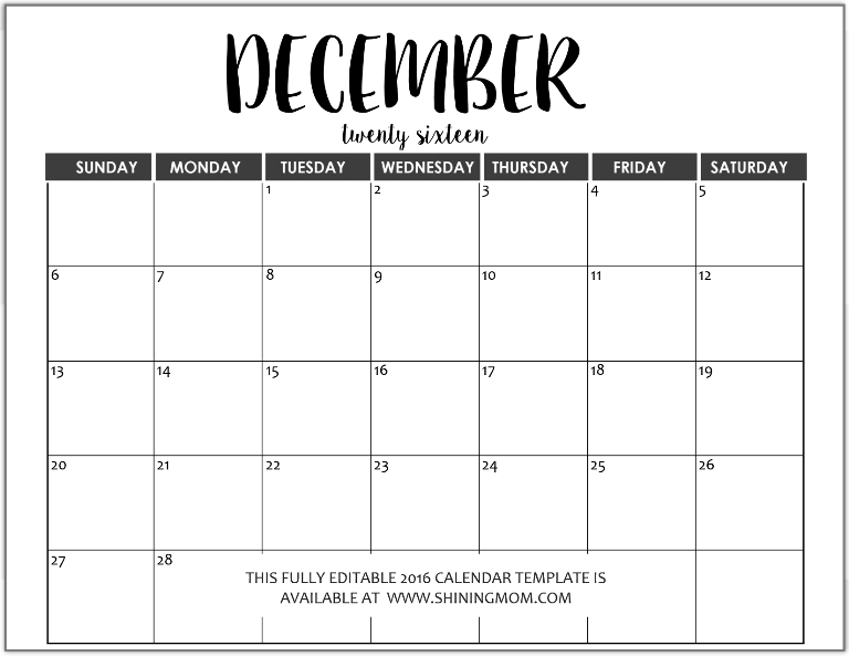 fillable calendars 2015