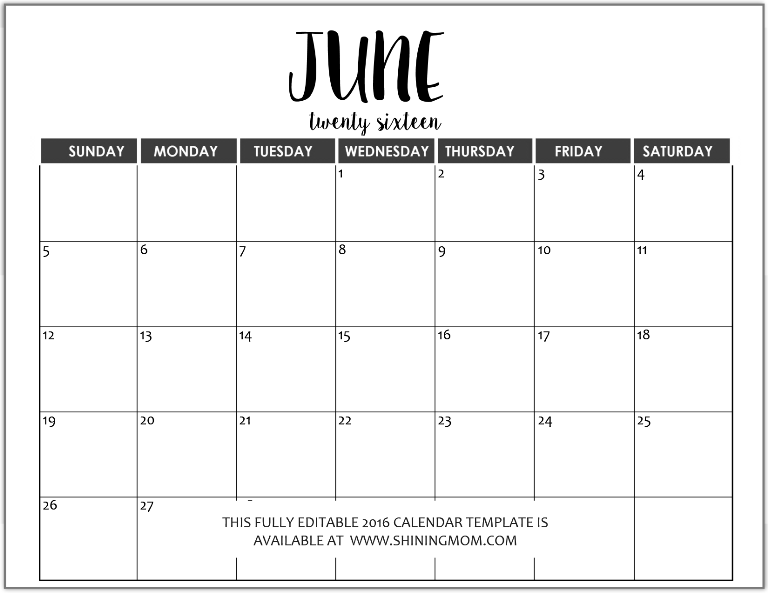 fully editable July 2016 calendar in MS Word