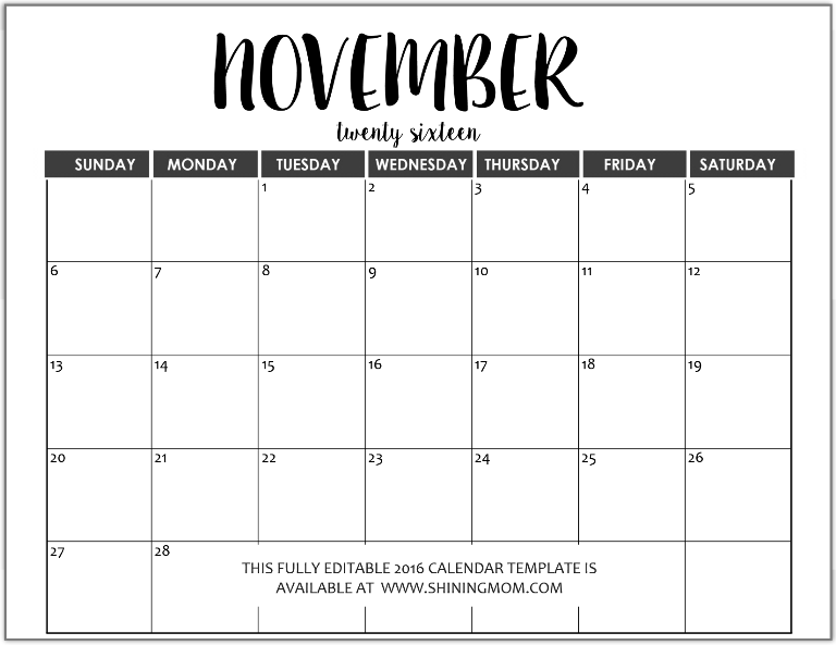 fully editable November 2016 calendar in MS Word