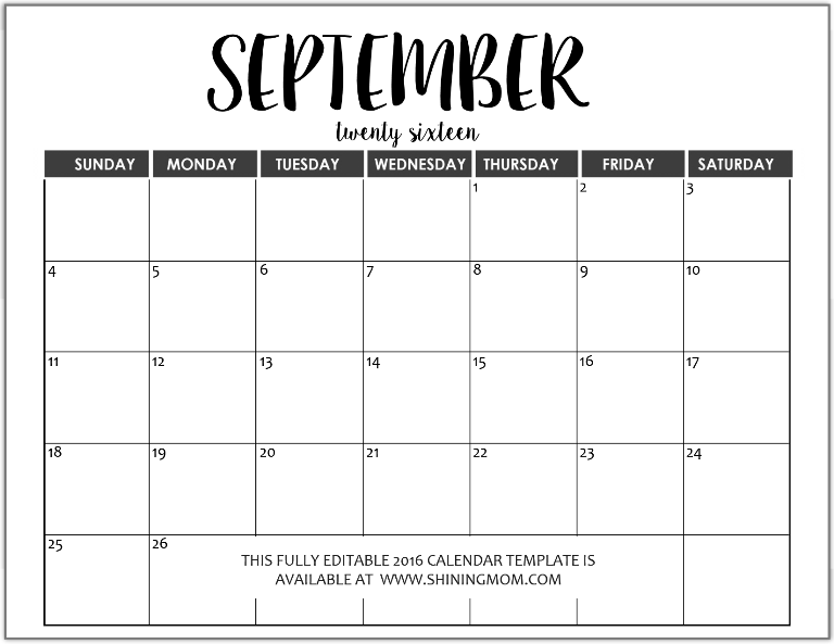 fully editable September 2016 calendar in MS Word