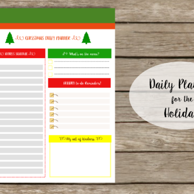 Your Daily Planner for the Holidays!