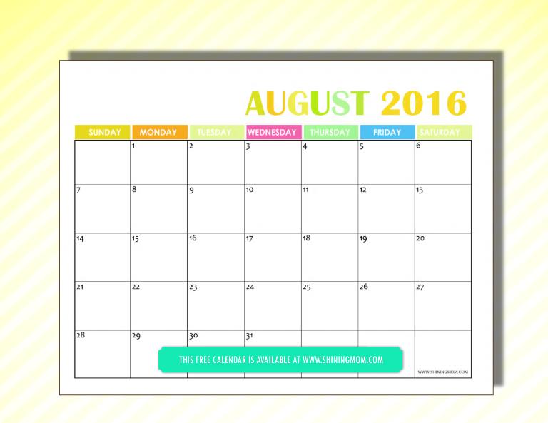 free 2016 calendar August
