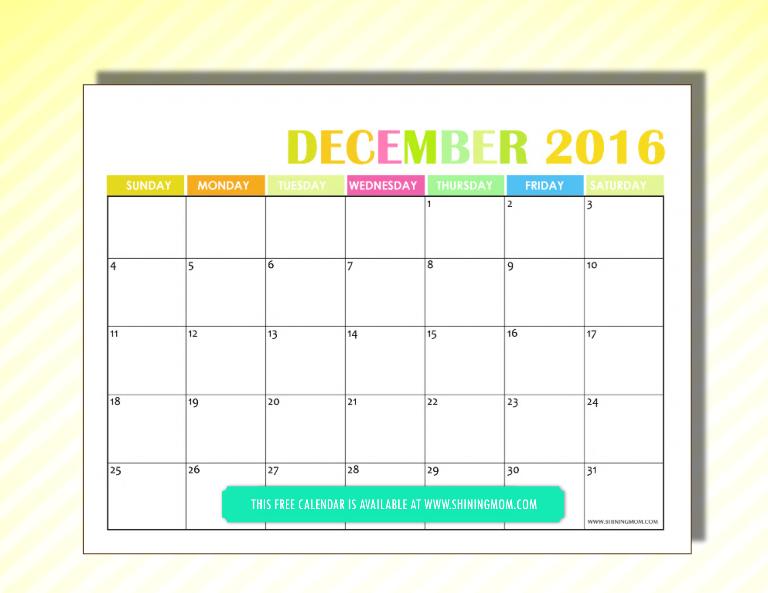 free 2016 calendar December