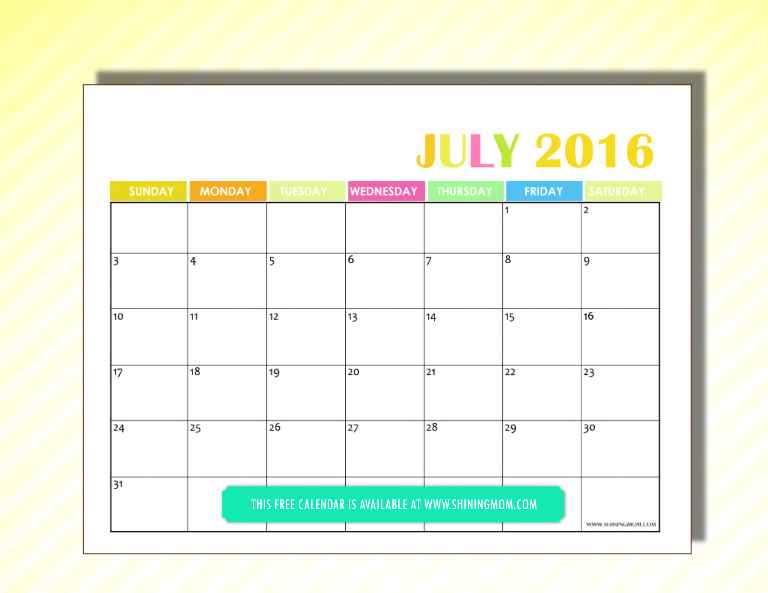 free 2016 calendar July