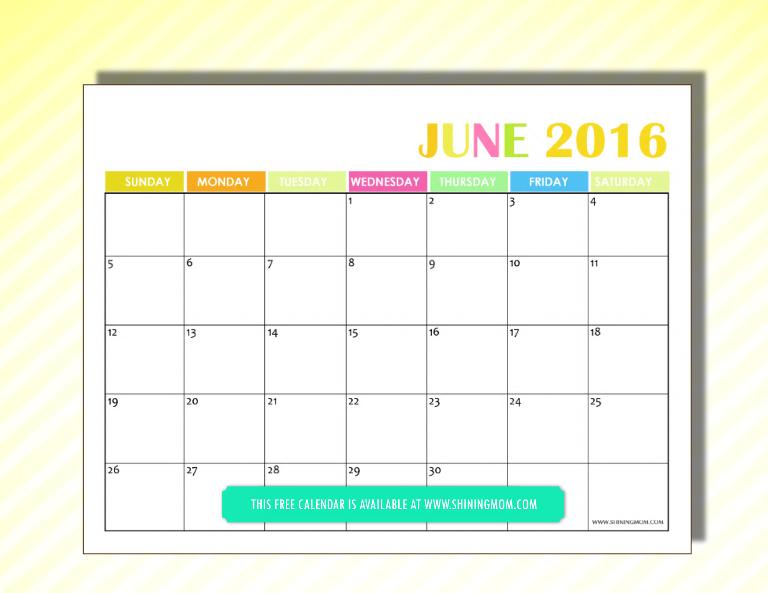 free 2016 calendar June