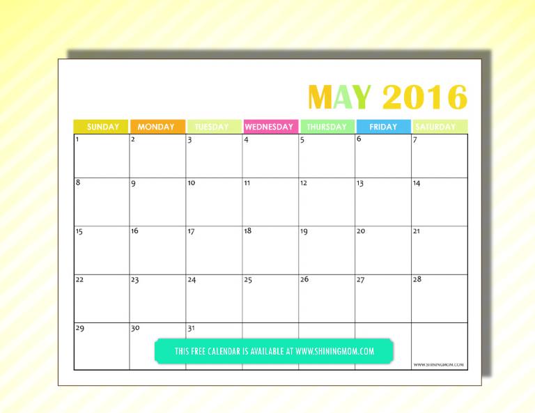 free 2016 calendar May
