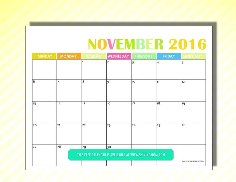 free 2016 calendar November
