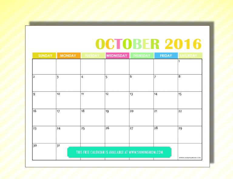 free 2016 calendar October