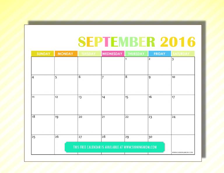 free 2016 calendar September