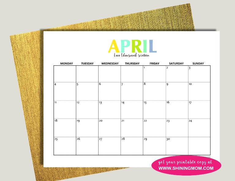 April 2016 calendar free