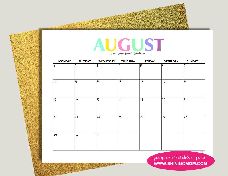 August 2016 calendar free