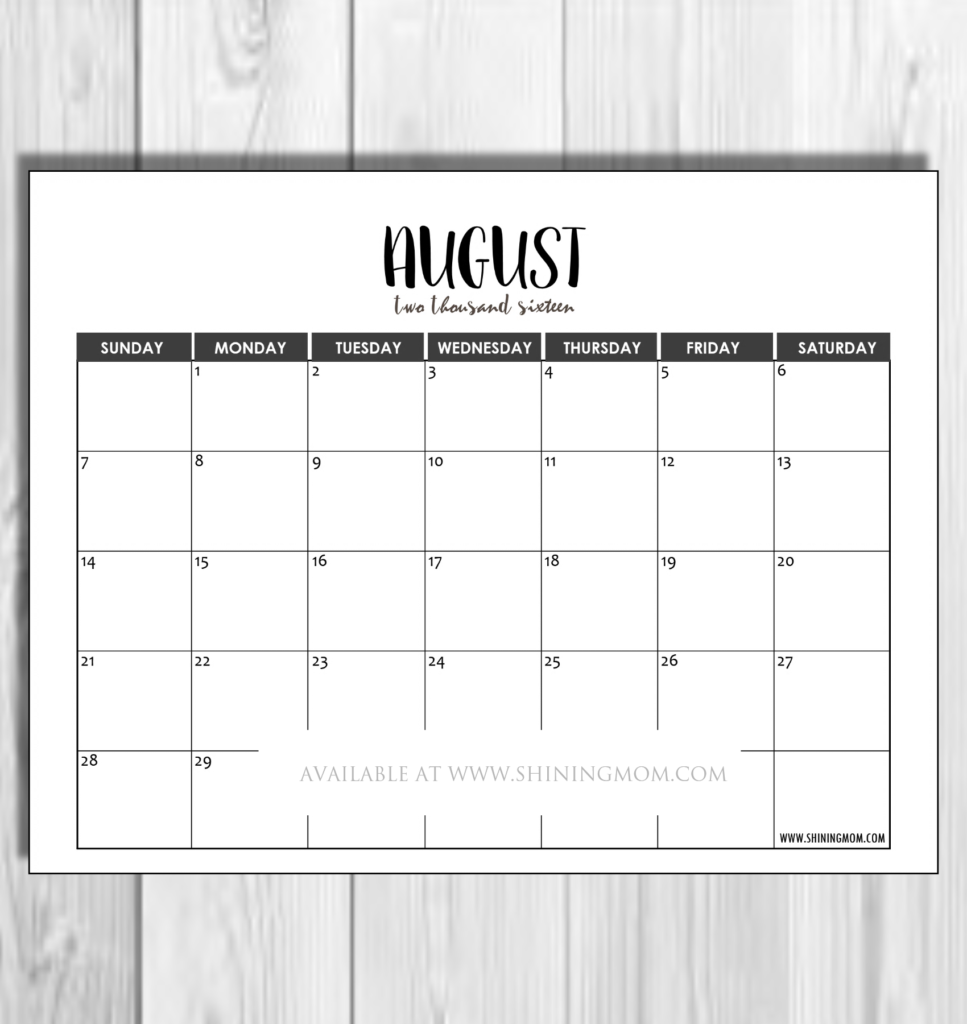 August 2016 minimalist