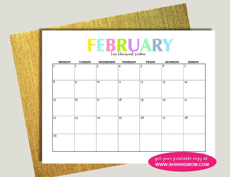 February 2016 calendar free