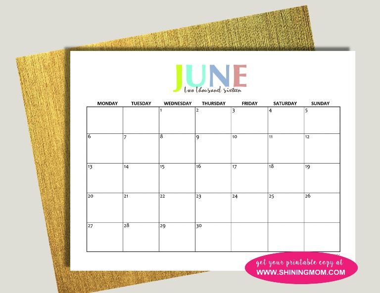 June 2016 calendar free