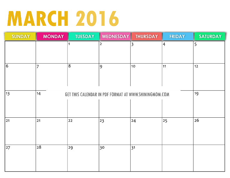 2016 Calendar Related Keywords & Suggestions - March 2016 Calendar ...