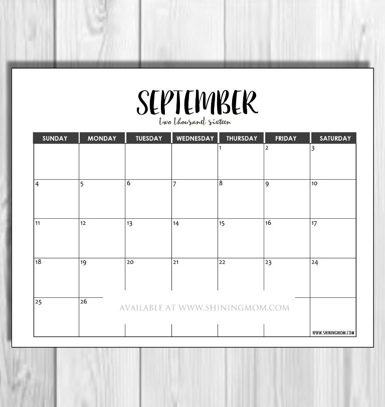 September 2016 minimalist calendar