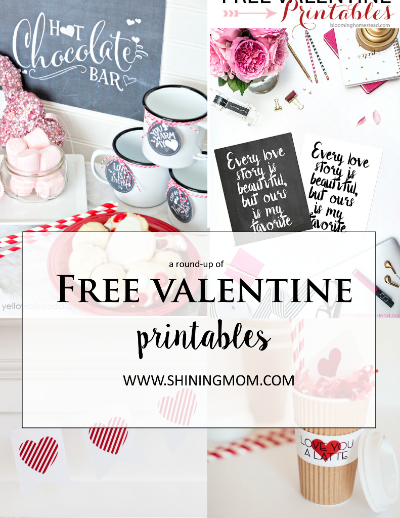 a round up of free valentine printables