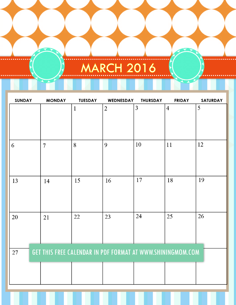 cute March 2016 calendar free printable