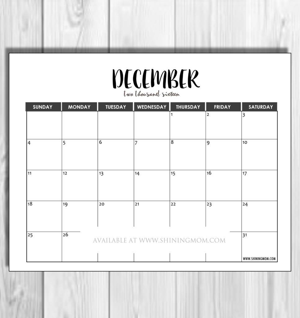 december 2016 minimalist calendar