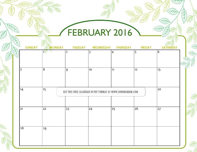 february 2016 calendar nature inspired