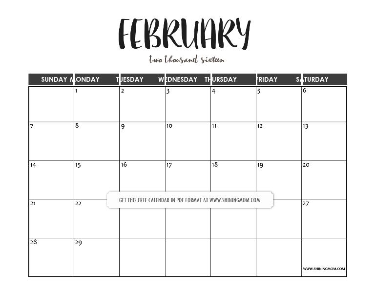 free february 2016 calendar template