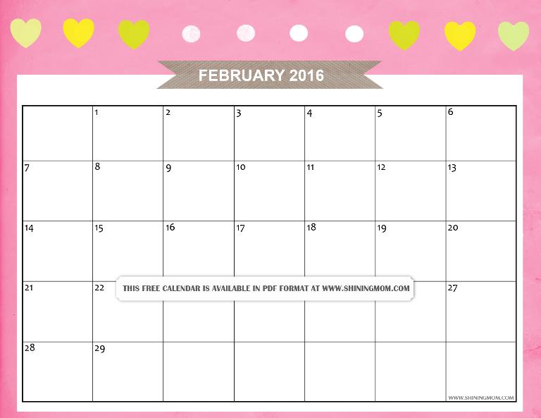 free february 2916 calendar