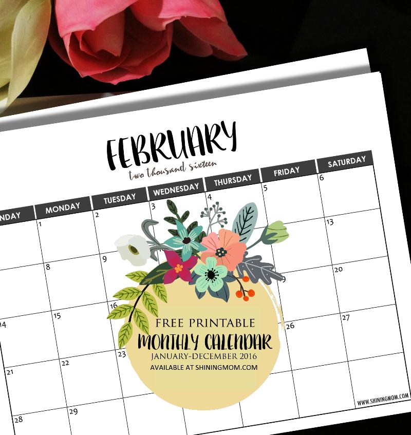 free minimalist calendar 2016