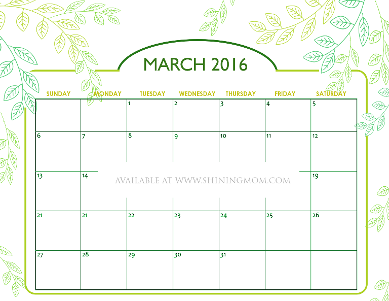 free printable March 2016 calendar nature inspired