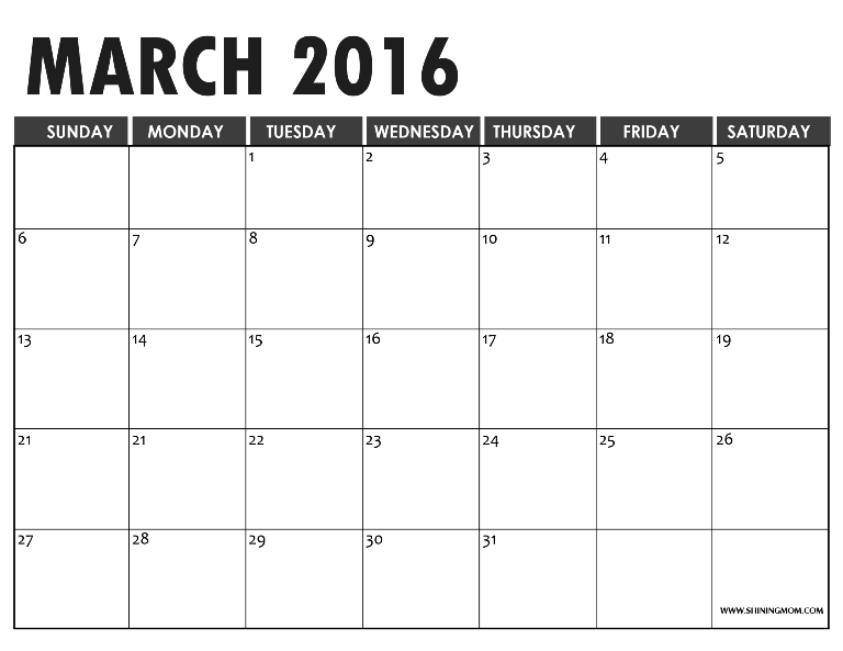 Free Printable Calendars for March 2016