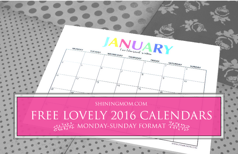 free to print 2016 calendars