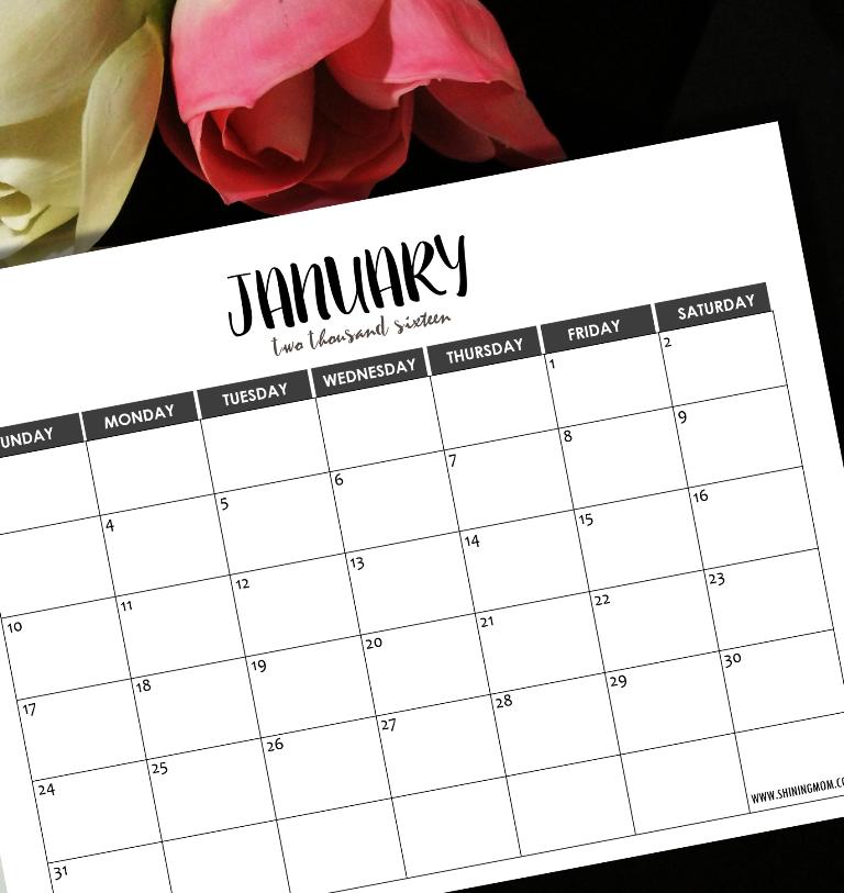 january 2016 minimalist calendar