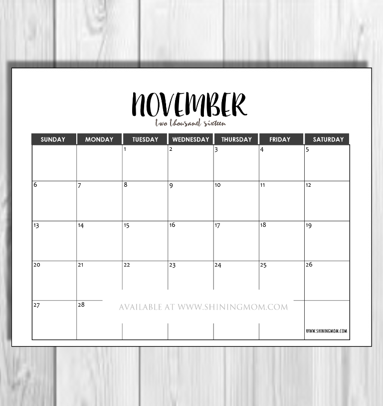 november 2016 minimalist calendar