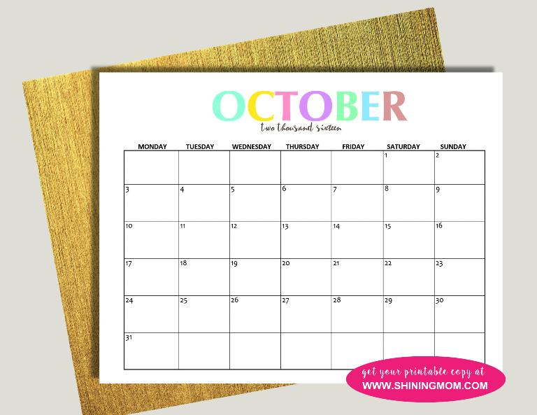 october 2016 calendar free