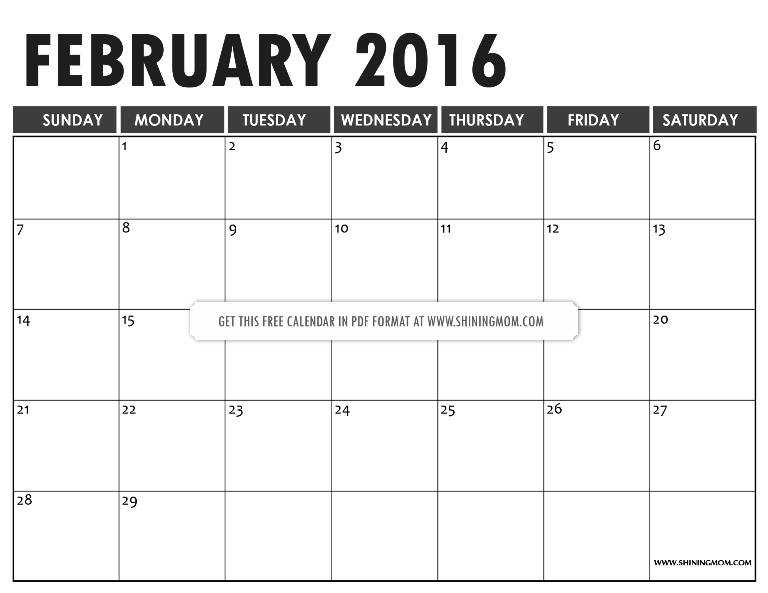 Definitely Lovely: Free Printable February 2016 Calendars