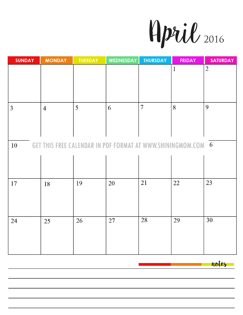 cute April 2016 calendar with notes