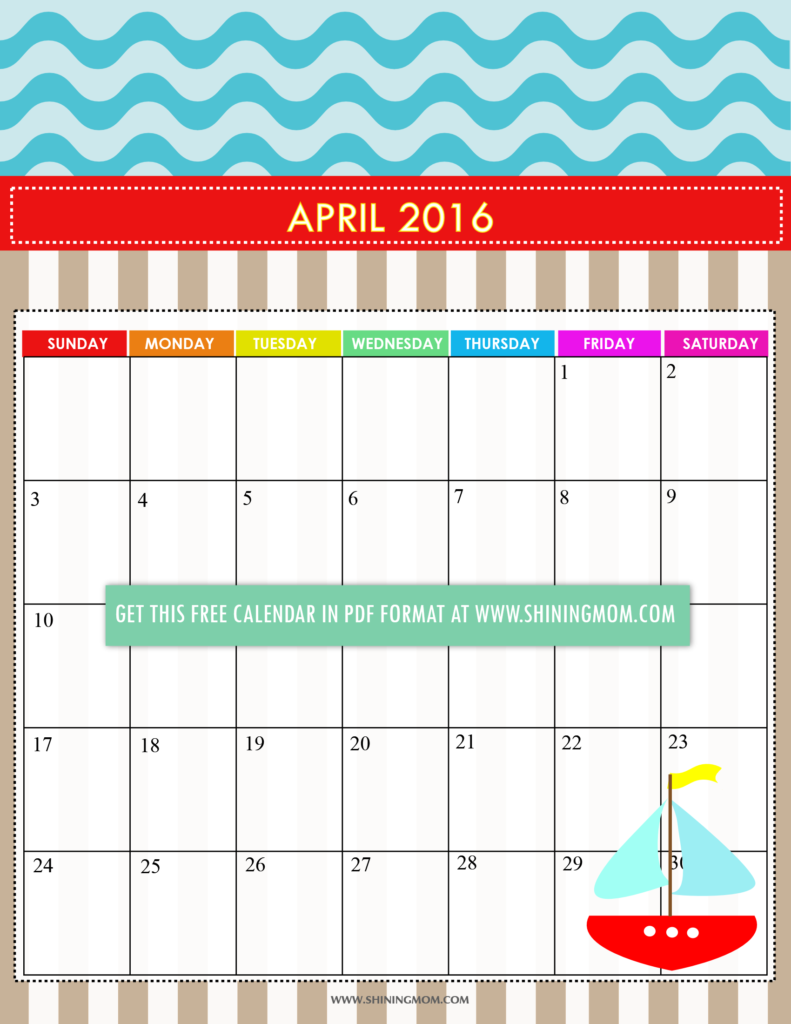 cute free printable April 2016 calendar