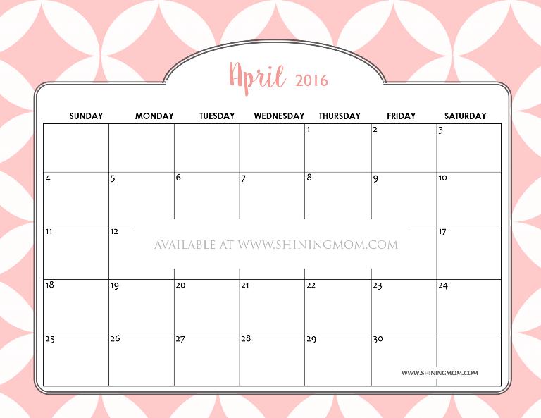 Free Printable April 2016 Calendars