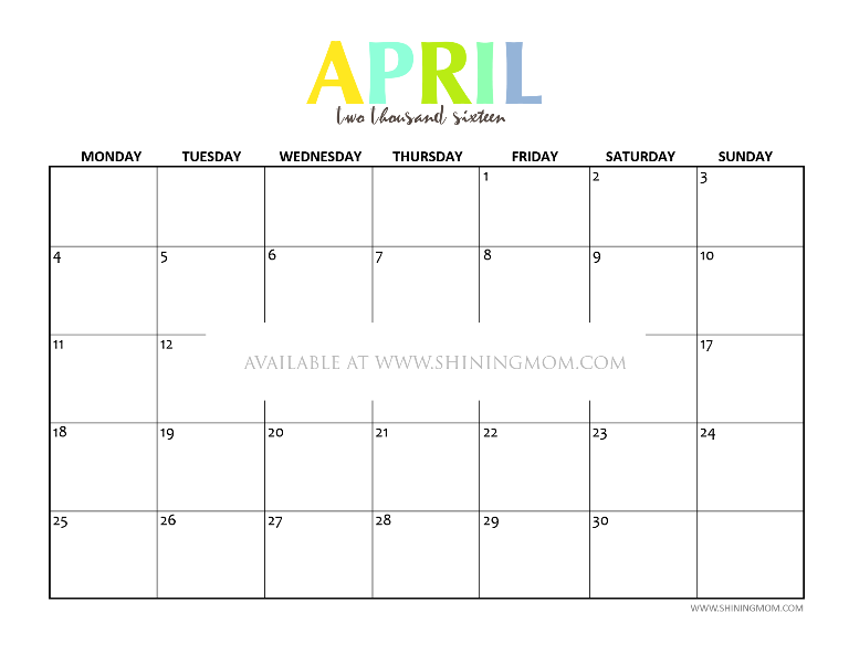 free printable April 2016 calendar via Shining Mom