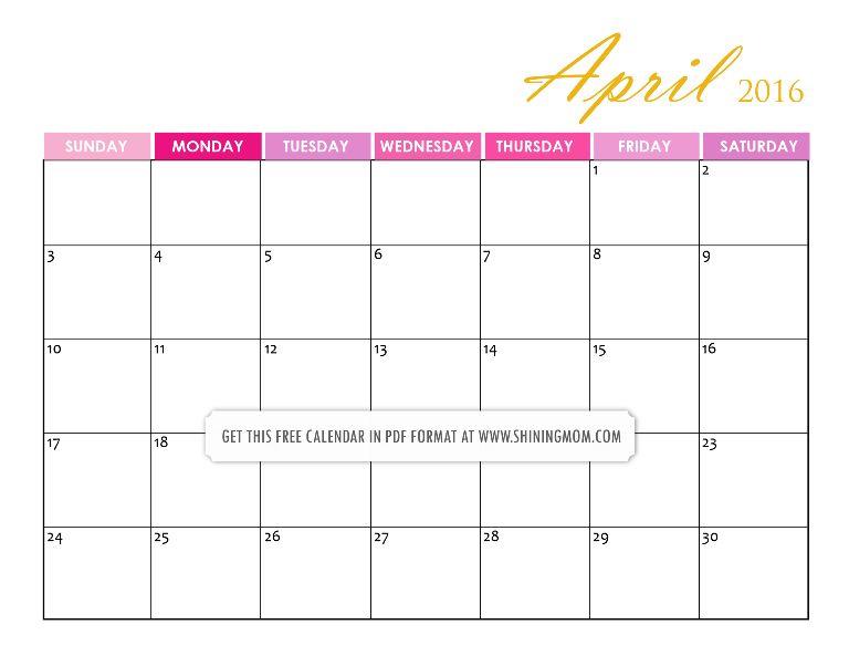 free printable pretty April 2016 calendar