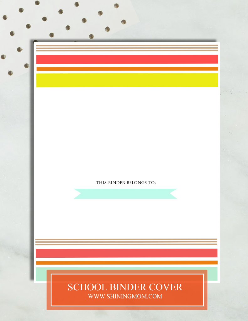 free printable school binder cover