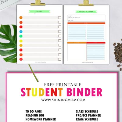 Free Printable School Binder