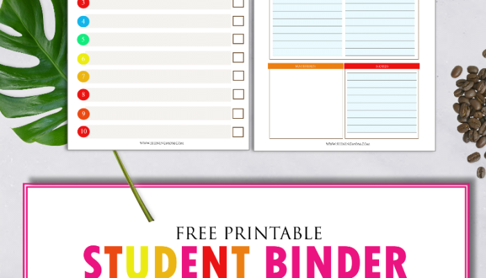 Free Printable School Binder