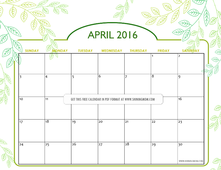 nature inspired April 2016 calendar free printable