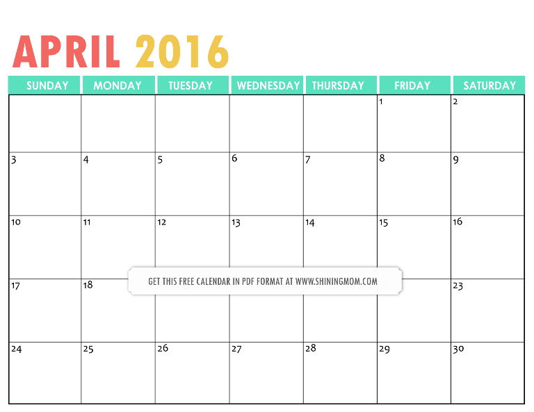 Free Printable April 2016 Calendar with Notes