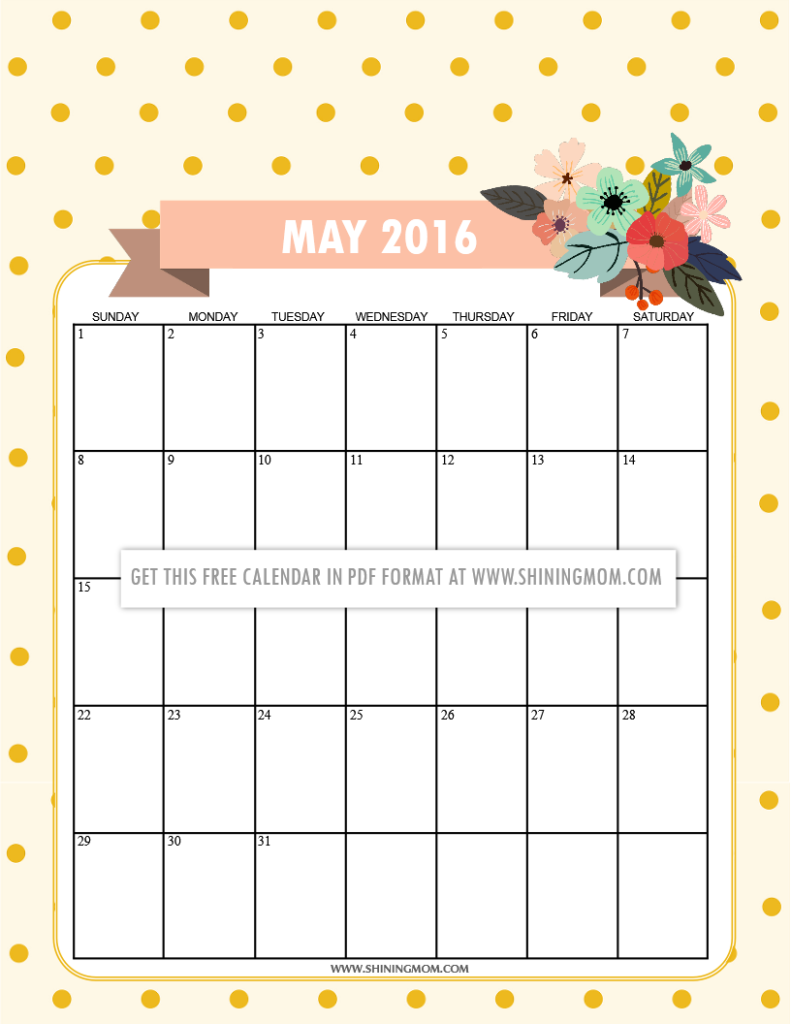 CUTE free printable May 2016 calendar