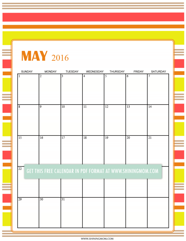 free May 2016 calendar