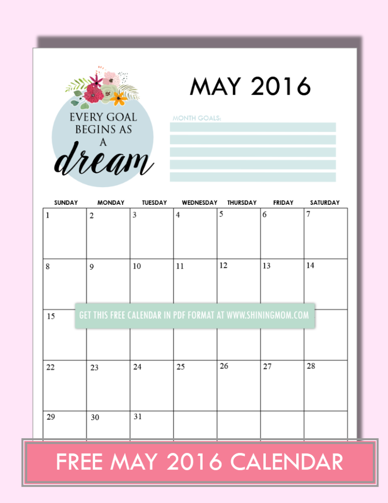free May 2016 calendar intentional