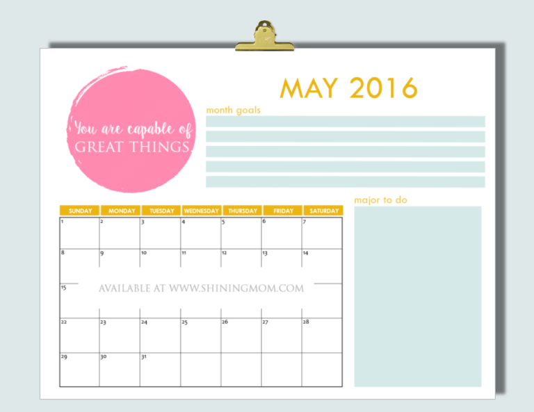 free May 2016 calendar via shining mom