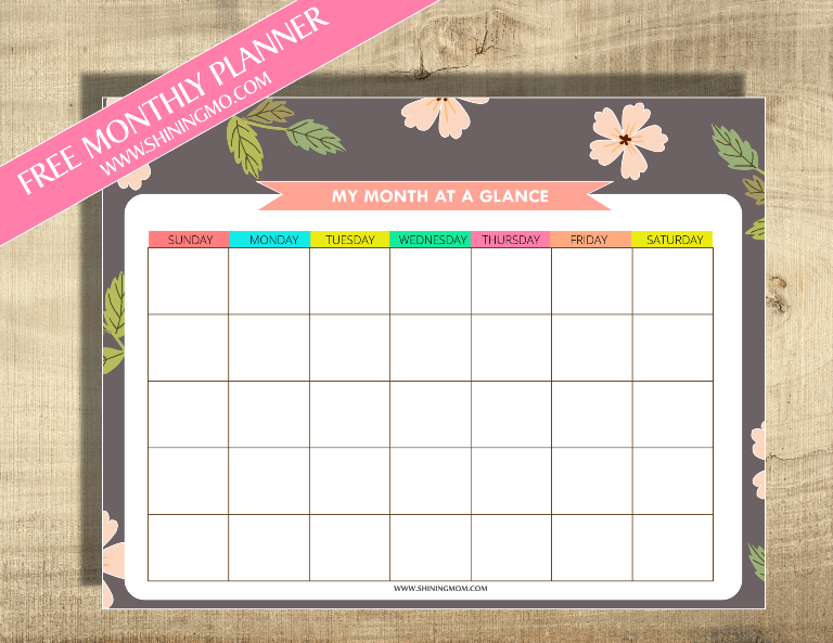 free monthly planner via shining mom