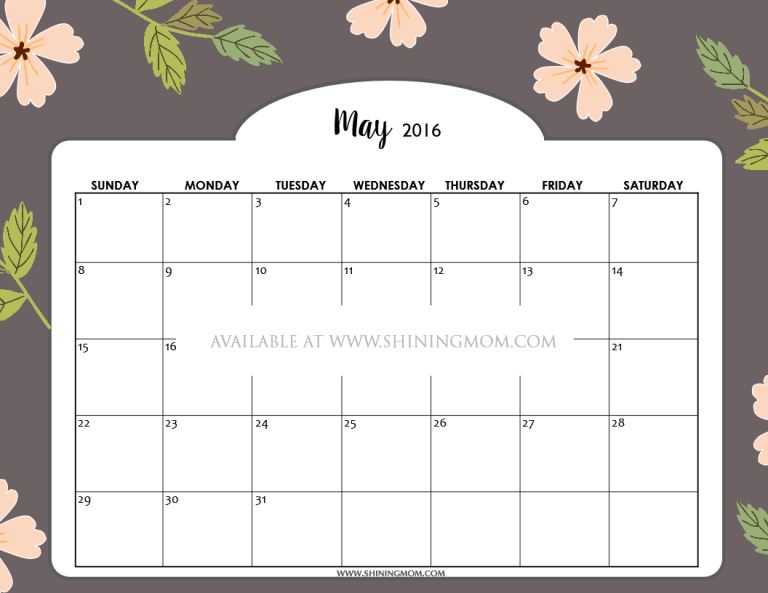 free printable May 2016 calendar beautiful